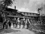 El Tovar Hotel, Grand Canyon, Arizona. Trail Party Leaving Hotel. Wrangler--Billy Joint. Grand...