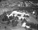 Flagstaff Hospital, 8/9/66. [Aerial view of the hospital, looking southwest towards Marshall...